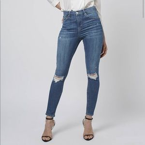 Topshop MOTO Mid Blue Ripped Jamie Jeans